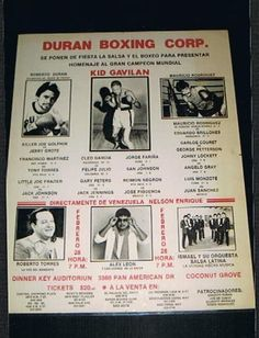 VERY RARE Roberto Duran Kid Gavilan boxing poster