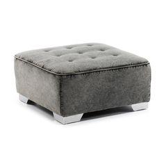 Canapé Module Gordon (pouf)Module de canapé puff, rembourré en tissu de jeans gris. Structure en bois et mousse de polyuréthane. Composition de tissu 75% coton et 25% polyester.