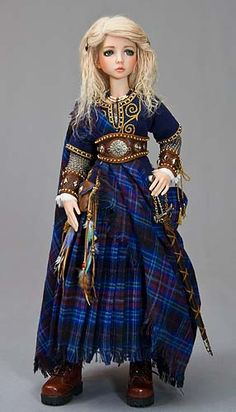 """Aeran, Celtic Maiden Blue Tartan Cape #doll #costume #fashion"""