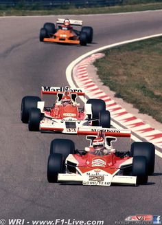 Rookie Nelson Piquet in a McLaren M23 in front of regular driver Bruno Ciacomelli in a M26 (Grand Prix of Nederlands 1978)
