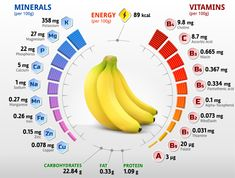 vitamins and minerals of banana fruit. infographics about nutrients in banana. qualitative vector illustration about banana vitamins fruits health food nutrients diet etc Vitamin A, Energy Vitamins, Health Benefits, Health Tips, Health Articles, Dieta Atkins, Banana Benefits, Fruit Benefits, Recipes
