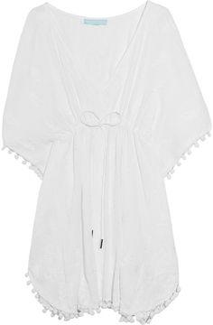 MELISSA ODABASH  White Sharize Embroidered Cotton Kaftan