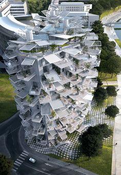 Obra dos arquitetos Sou Fujimoto, Nicolas Laisné e Manal Rachdi, o L'Arbre Blanc venceu a concorrência para integrar o projeto Folie Architecturale of the 21st Century.