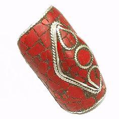 Anel longo de prata 925 com aplicações de Coral.