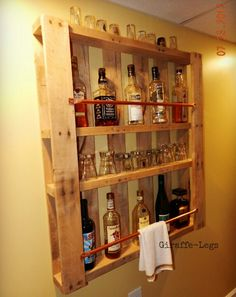 another pallet wall bar, i think i would have stained it dark, i also love the copper piping