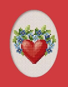Free pattern for cross stitch love card.