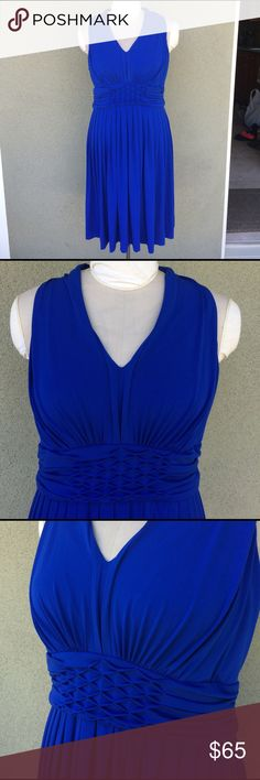 """NEW Calvin Klein dress New with tags cobalt blue Calvin Klein dress. Sorry I don't model. It fits better in real life, it's too big on the dress form. Stretchy fabric. Front fabric gathered detailing. Has bust padding so you can wear without a bra. Back zipper. Very pretty! Polyester and spandex. Length 41"""" pit to pit 20"""" but stretches more to fit the body when worn. Waist flat across when flat 16"""" but stretches plenty. True to size. Calvin Klein Dresses Wedding"""
