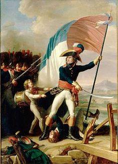Pierre Augereau  au pont d'Arcole le 15 nov 1796 par Charles Thévenin - Bonaparte met Augereau à la disposition du Directoire qui le nomme commandant militaire de Paris: il prend ainsi une part active au coup d'état du 18 fructidor (4 septembre 1797). Nommé maréchal de France et duc de Castiglione, il prend part à toutes les campagnes de l'Empire où il se distingue par sa bravoure et son sens tactique