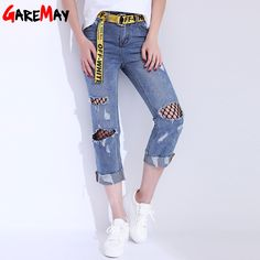 1d4f868bb4b70 Women Jeans With Holes Denim Pants Capris Ripped Curling Jeans Female Net  Casual Belt Distressed Jeans