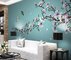 Tree Wall Painting, Tree Wall Murals, Mural Wall Art, Home Decor Wall Art, Room Decor, Wall Painting For Bedroom, Painted Wall Murals, Wall Paintings, Bedroom Wall Designs