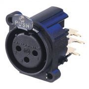 Really time-saving PCB XLR receptacle - 3 pole female, very affordable price for gold pins. Grounding: mating connector shell to pin1 and front panel.