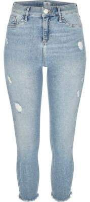 River Island Womens Petite light blue Molly distressed jeggings