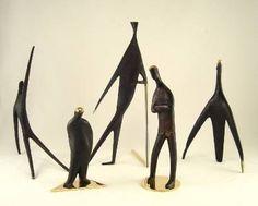 Carl AUBOCK Vienna Big Sculpture MAN WITH STICK / CANE Hagenauer Brass era | eBay