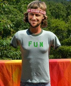 vintage 70s t-shirt FUN ringer heathered green rayon funny tee shirt Small 80s