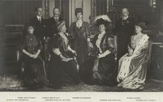 The Three Kings and Five Queens, c. 1907. at Windsor Castle From left to right: Sitting: Queen Maud of Norway, Empress Augusta of Germany, Queen Amalie of Portugal and Queen Ena of Spain.  Standing: King Alfonso XIII of Spain, Kaiser William II of Germany, Queen Alexandra of Great Britain and her husband King Edward VII.