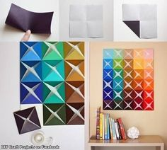 Fold sheets of paper to make a unique piece of art. | 29 Impossibly Creative Ways To Completely Transform Your Walls