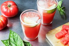 Summer Crush - fresh tomatoes, watermelon and basil in a vodka cocktail