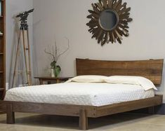 Your place to buy and sell all things handmade - Enso Platform Bed Modern Rustic Asian twin full double queen king solid wood bed frame Organic fini - Bed Frame And Headboard, Wood Headboard, Distressed Headboard, Headboard Ideas, Floating Headboard, Modern Headboard, Bed Frames, Headboards, Modern Bedroom