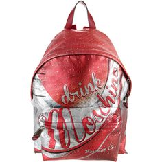 Moschino Drink Moschino Backpack ($695) ❤ liked on Polyvore featuring bags, backpacks, silver, zipper bag, woven backpack, real leather backpack, red backpack and leather rucksack