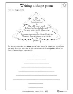 I would use this poem sheet during the winter months to show students how to write a shape poem. We would follow the example poem at the top and write our own poem in the section at the bottom.