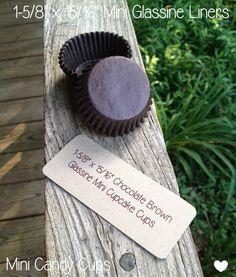 1-5/8 x 15/16 Chocolate Brown Glassine Mini by TheBakersBin