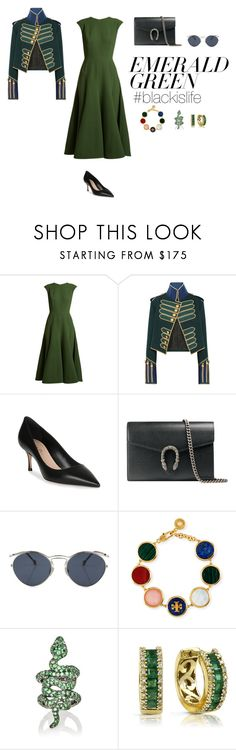"""#blackislife"" by blackislifetag ❤ liked on Polyvore featuring Emilia Wickstead, Burberry, Christian Dior, Gucci, Tory Burch, Sidney Garber, Effy Jewelry and emeraldgreen"