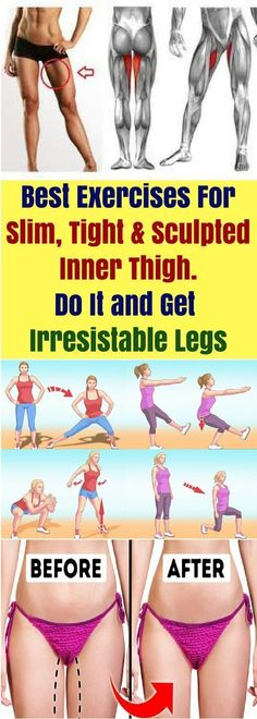 Best Exercises For Slim, Tight & Sculpted Inner Thigh. Do It & Get Irresıstable Legs! Best Exercises For Slim, Tight & Sculpted Inner Thigh. Do It & Get Irresıstable Legs! Health Goals, Health Advice, Health Guru, Fitness Tips, Health Fitness, Fitness Challenges, Body Weight, Weight Loss, Health Routine