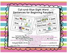 Sight Word Sentences for Beginning Readers!  - This set of 66 cut-and-glue sentences focuses on 25 sight words that are among the first needed for beginning reading. Each sentence has 3-6 words with only 3 or 4 sections to arrange.  They are appropriate for use in preschool and kindergarten. These sentences are perfect for teaching not only sight words, but also grammar and punctuation.  The sentences are great for the beginning of the school year.  They cover the following themes:  Back to…