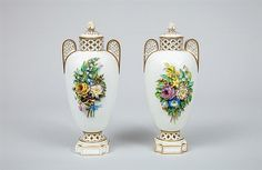 Pair of Italian Floral-Encrusted Porcelain Vases and Covers