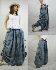 PLUS SIZE Love Me..Love Me Not (Series III)...Steampunk Tie Dye Bluesih Grey Cotton Skirt  With Side Adjustable String And 2 Roomy Pockets on Etsy, $46.00