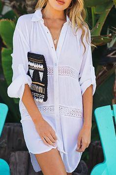 Summer Women Beach Wear Cover-ups White Cotton Tunic Bikini Wrap Skirt Swimsuit Cover Up Bath Dress Sarong plage pareo Beach Skirt, Beach Dresses, Wrap Shirt, Beach Wear, Shirt Blouses, Shirts, Cotton Tunics, Roll Up Sleeves, Woman Beach