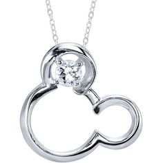 18 Disney Silver Synthetic White Sapphire April Birthstone Mickey... ($52) ❤ liked on Polyvore featuring jewelry, necklaces, white sapphire necklace, mickey mouse jewelry, mickey mouse necklace, disney necklace and silver pendant