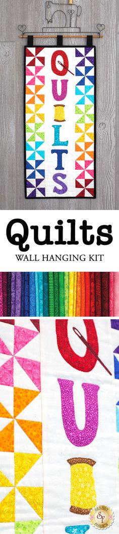 """Show off your favorite hobby with the Quilts Wall Hanging! This vibrant wall hanging features the word """"Quilts"""" in darling appliqué bordered by a rainbow of pinwheel blocks! Hung from one of the darlling craft holders availale below, this wall hanging makes a bright and fun addition to any room - especially sewing and craft rooms!"""