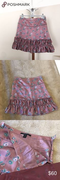 """MARC JACOBS silk skirt, size 6 MARC JACOBS silk skirt, size 6. Lovely mauve colored skirt embellished with teal, green and rose pink flowers. Measures 19"""" in length. Size 6, 100% silk. In gently worn preowned condition. Please ask questions prior to purchase. 🚫trades, reasonable offers only. Marc By Marc Jacobs Skirts Mini"""