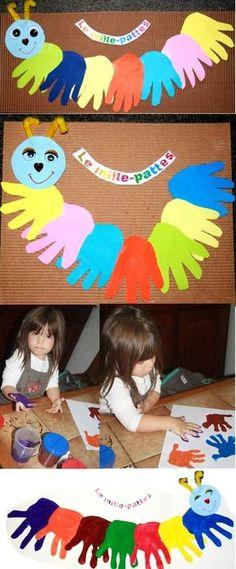 Mille-pattes de Clément 7 mois avec la forme de ses mains Nola 9 mois a fait elle aussi le sien de milles pattes Quandà sa soeur Méline a confectionné son mille-pattes avec des empreintes de mains ...