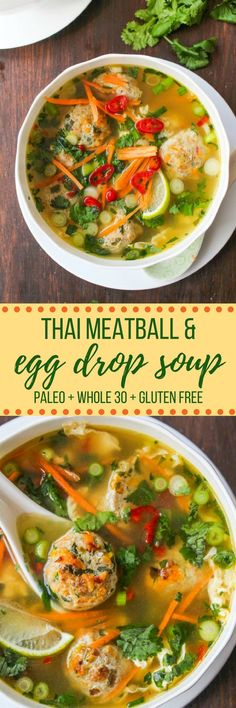 Thai Meatball and Egg Drop Soup: Thai flavors mixed into a traditional egg drop broth for a comforting and filling soup. Paleo + Whole 30 + Low Carb