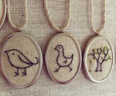 Embroidered pendants inspired by life   - Check out these cute limited edition hand-embroidered country pendant necklaces made in Brisbane, Australia! Inspired by life at a beautiful tree house in the country, these lovely little pieces are a series of hand-stitched pendants made on linen and framed in a metal setting, and they're hung on vegan friendly hemp cords.