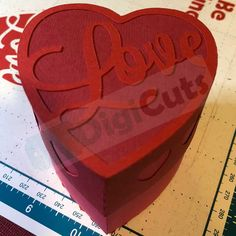 Easy to make Heart Gift Box SVG and FCM Cutting Files. For Brother Scan N Cut, Cricut, Silhouette and most other electronic cutting machines.