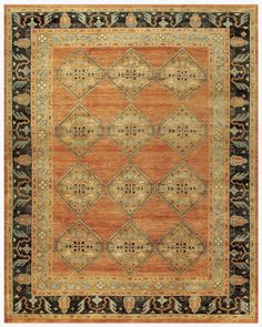 Antiquity Collection Hand Knotted Wool Area Rug in Rust and Charcoal by BD Fine