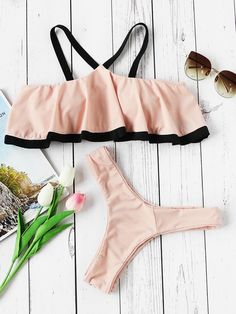 Shop Contrast Strap And Trim Cold Shoulder Flounce Bikini Set online. SheIn offers Contrast Strap And Trim Cold Shoulder Flounce Bikini Set & more to fit your fashionable needs.