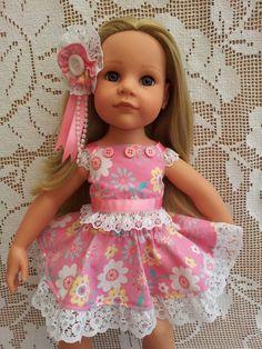 SalStuff, Pink Circle Skirt & Lined Sun Top, Flowers, Gotz Designafriend doll