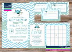 Baby Shower Invitation party pack sea turtle by paperclever, $23.00