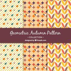 Set de patrones geométricos decorativos de otoño Vector Gratis