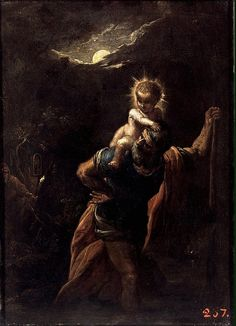 This small-format picture shows the Christian legend of the pagan of gigantic stature who was converted after he carried the infant Christ across a ford. Elsheimer, who spent most of his creative life in Italy, made light the most important visual element in the picture, both that real light which flows from the moon, and the mystical light which comes from the infant Christ. Small nuances of lighting, through which man and nature seem to blend into a unified whole, give this night scene a…