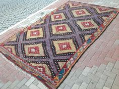 Large Kilim rug 118.5'' x 77.5'' Vintage Turkish by PocoVintage