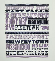 letterpress print of philly 'hoods (from two paper dolls)