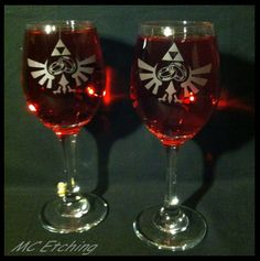 Two piece Legend of Zelda Wedding Wine Glasses. $30.00, via Etsy.
