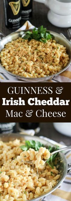 Guinness and Irish Cheddar Macaroni & Cheese ~ Stovetop macaroni and cheese filled with Guinness stout, sharp Irish cheddar and a touch of dijon mustard. Creamy and cheesy with a crunchy garlic breadcrumb topping. Cheese Recipes, Pasta Recipes, Dinner Recipes, Cooking Recipes, Healthy Meals, Healthy Recipes, Good Food, Yummy Food, Risotto