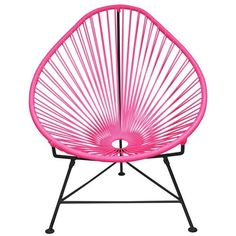 Innit Designs Acapulco Chair In Pink With Black Frame Pink On Black By ($398) ❤ liked on Polyvore featuring home, furniture, chairs, black furniture, woven chair, innit, pink furniture and black chair