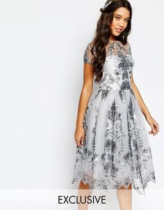 Image 1 ofChi Chi London Midi Prom Dress with Delicate Sequin